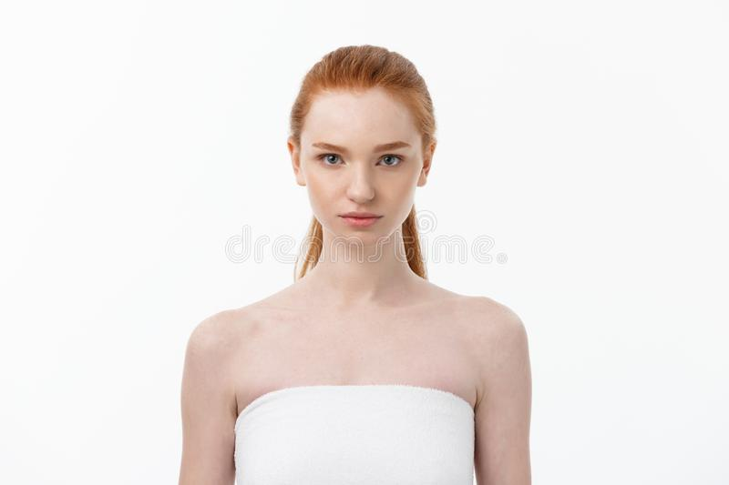 Beautiful woman female skin care healthy hair and skin close up face beauty portrait. royalty free stock photos