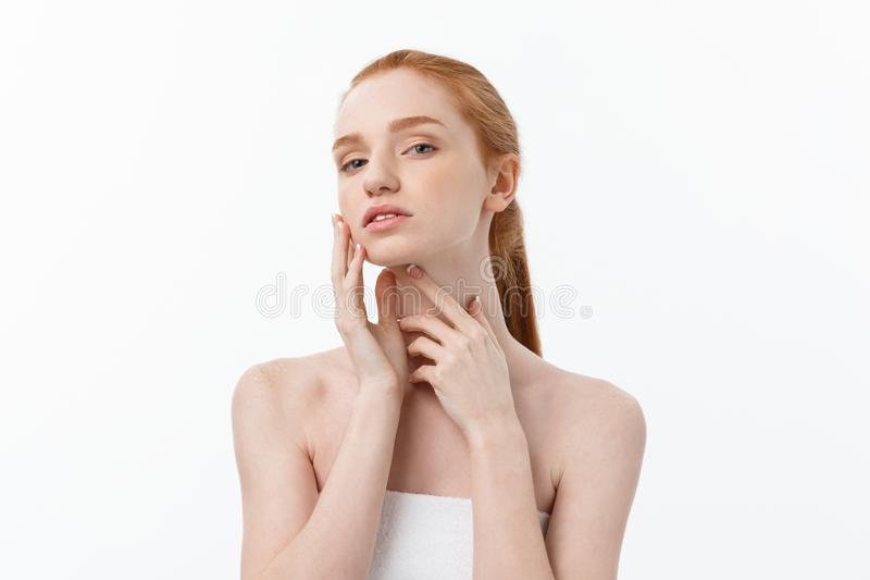 Beautiful woman female skin care healthy hair and skin close up face beauty portrait. royalty free stock photography