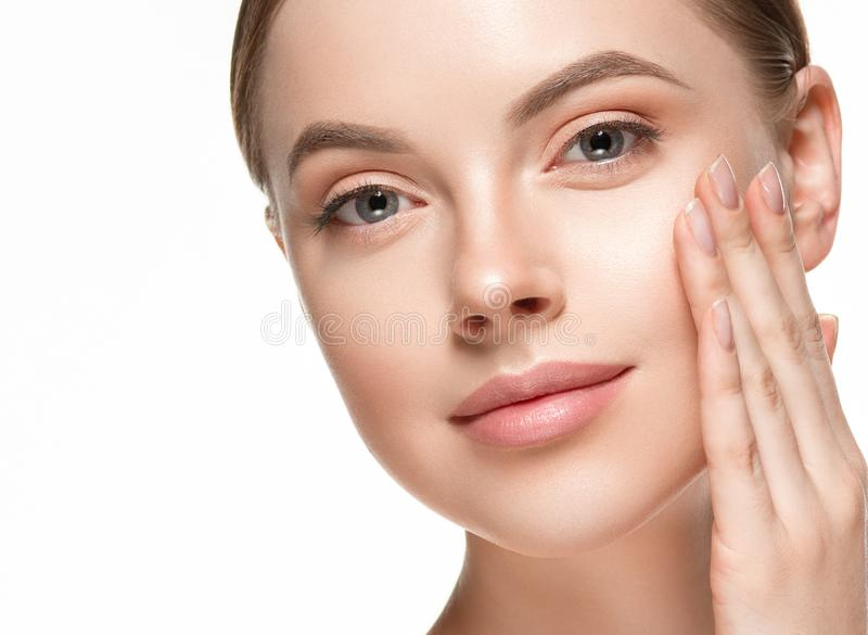 Beautiful woman female skin care healthy hair and skin close up face beauty portrait. Studio shot stock photo