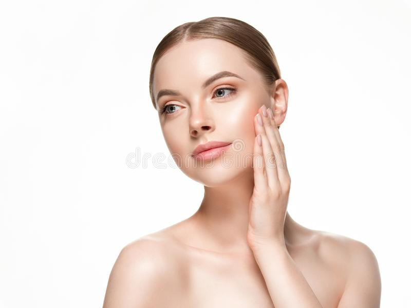 Beautiful woman female skin care healthy hair and skin close up face beauty portrait. Studio shot stock image