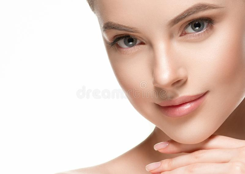 Beautiful woman female skin care healthy hair and skin close up face beauty portrait stock image