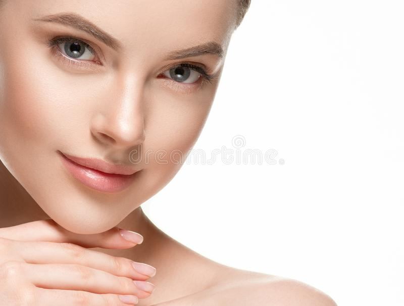 Beautiful woman female skin care healthy hair and skin close up face beauty portrait. Studio shot stock images