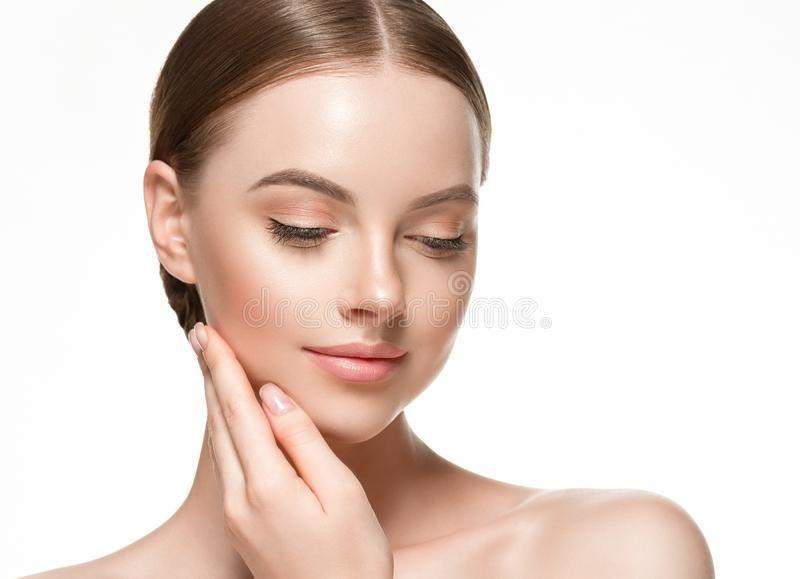 Beautiful woman female skin care healthy hair and skin close up face beauty portrait. Studio shot stock photography