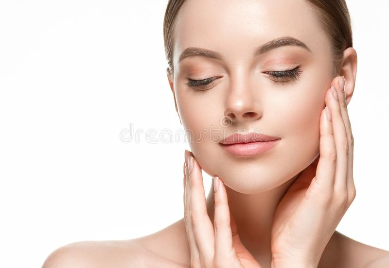 Beautiful woman female skin care healthy hair and skin close up face beauty portrait. Studio shot stock photos