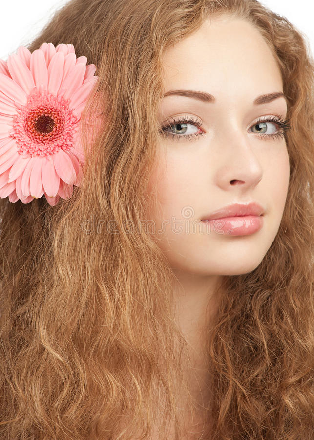 Beautiful Woman With Flower In Her Hair Stock Photo ...
