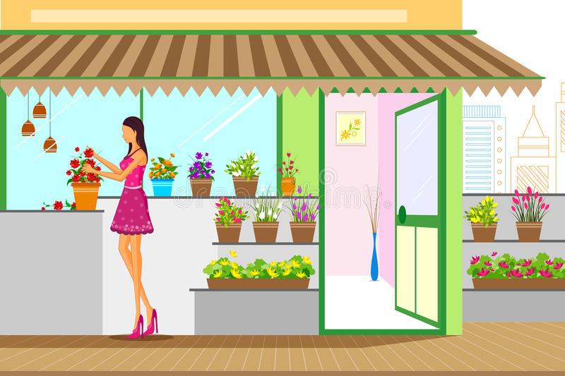 Beautiful woman in flower shop. Vector illustration stock illustration