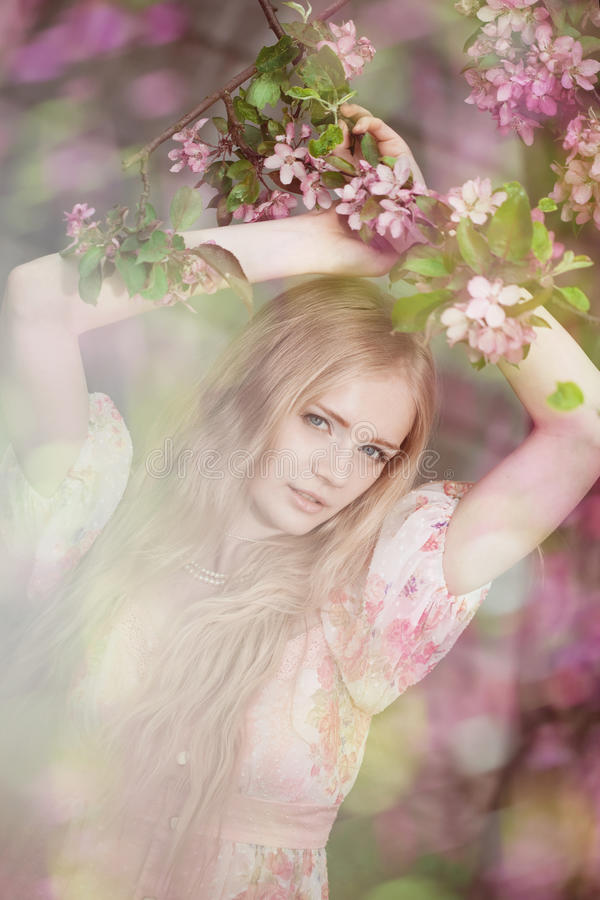 Beautiful Woman And Flowering Tree Royalty Free Stock Photos