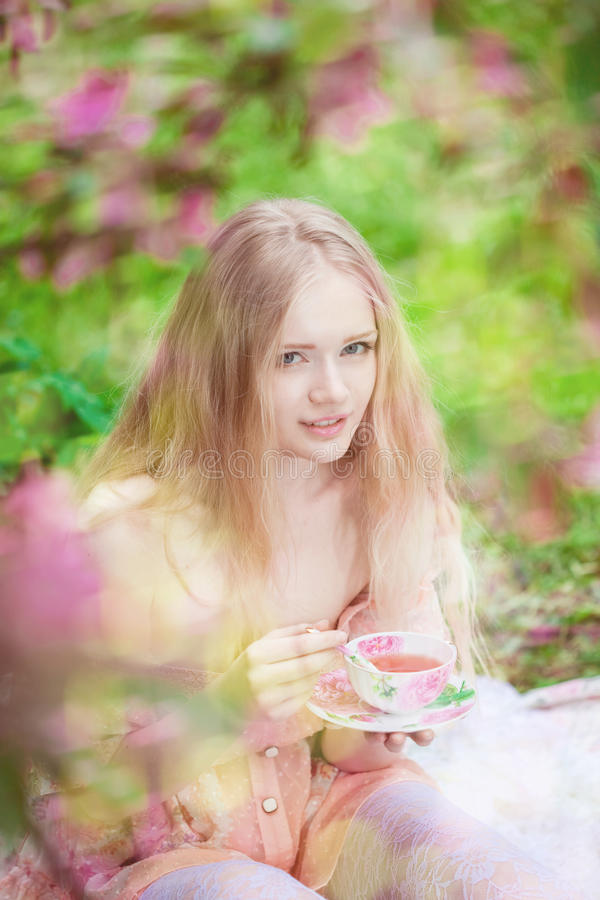Download Beautiful Woman With Flowering Tree Stock Image - Image of girl, care: 25321361