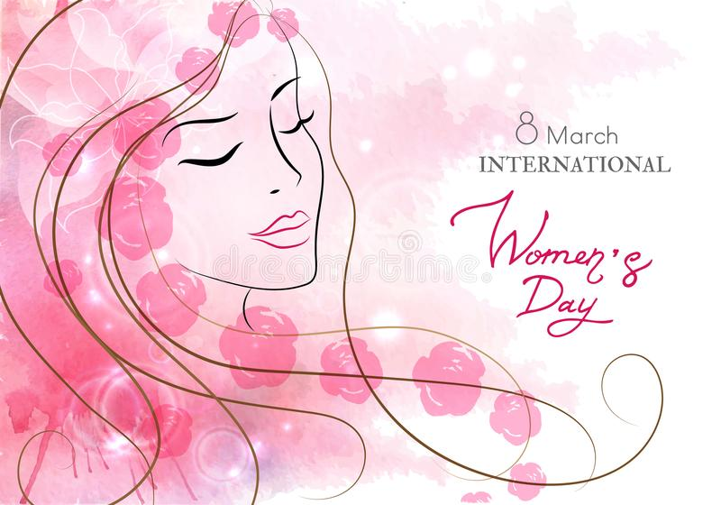 Beautiful woman with flowers. Watercolor pink background. Mother s day, 8 march, beauty, style . vector illustration