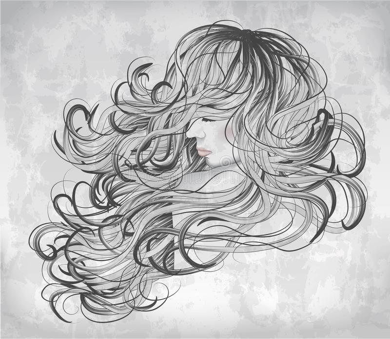 Beautiful woman with flowing hair vector illustration