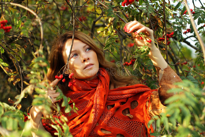 Download Beautiful woman in foliage stock photo. Image of background - 27020438