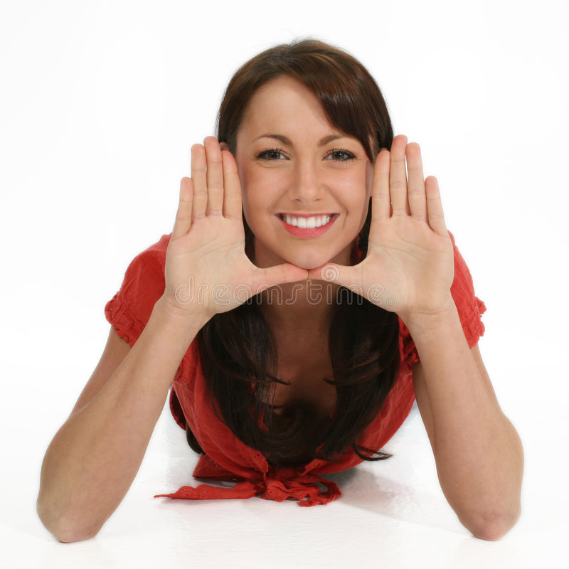 Download Beautiful Woman Framing Face With Hands Stock Photo - Image of teen, young: 472904