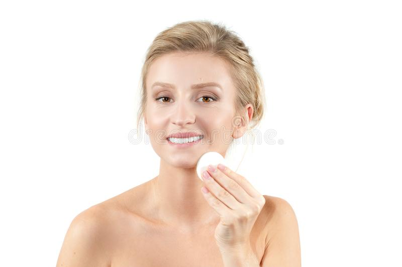 Beautiful woman with fresh clear skin. Spa and facial treatment concept. royalty free stock image
