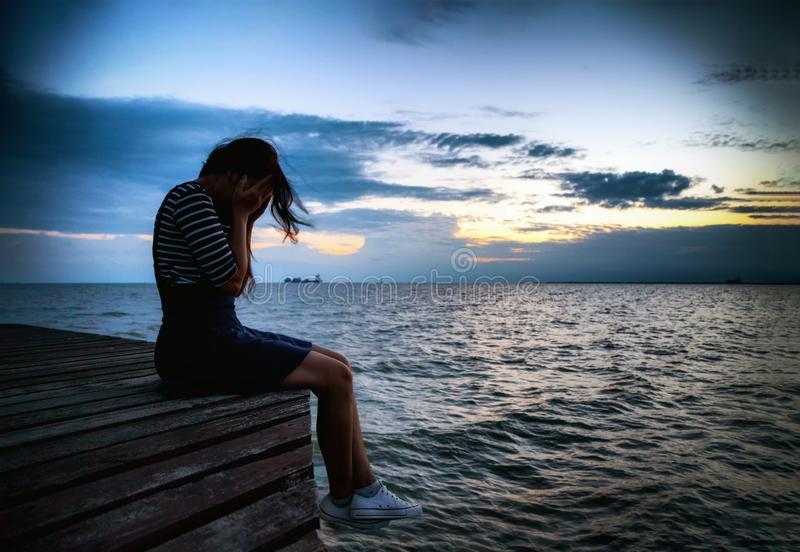 Beautiful woman in frustrated depression royalty free stock image