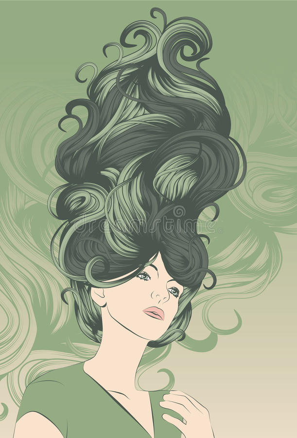 Beautiful woman with funky detailed hair vector illustration