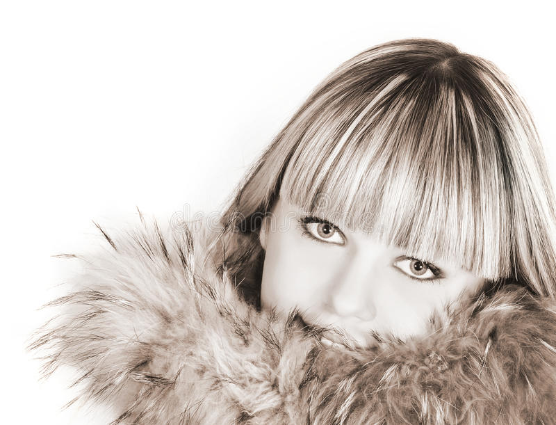 Beautiful woman in fur. Portrait of beautiful woman in fur royalty free stock photo