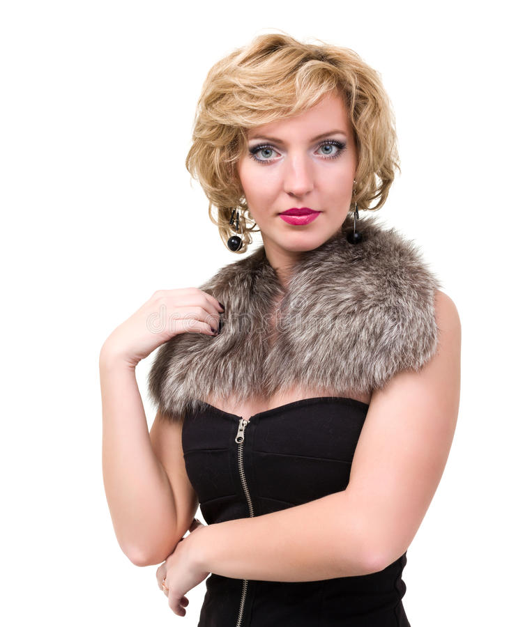 Beautiful woman with fur