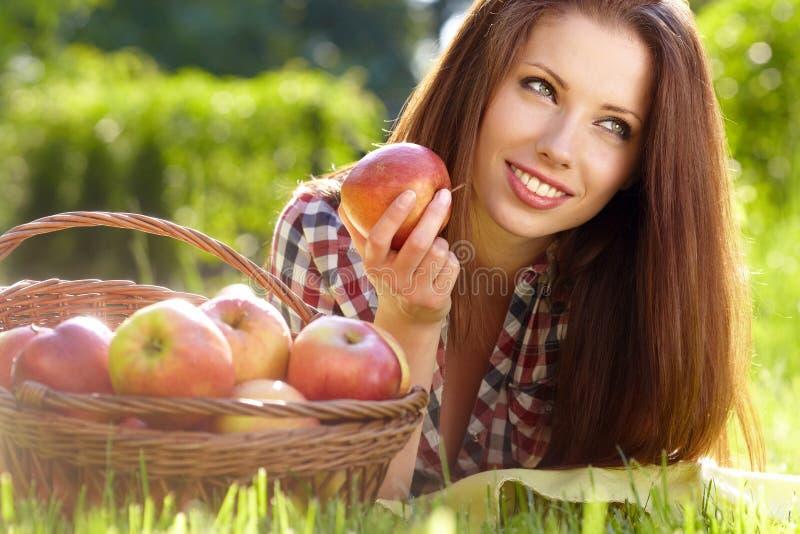 Beautiful Woman  Garden With Apples Stock Photos