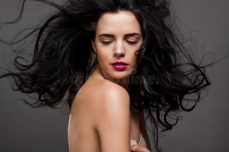 Beautiful woman with a gentle serene expression stock photo