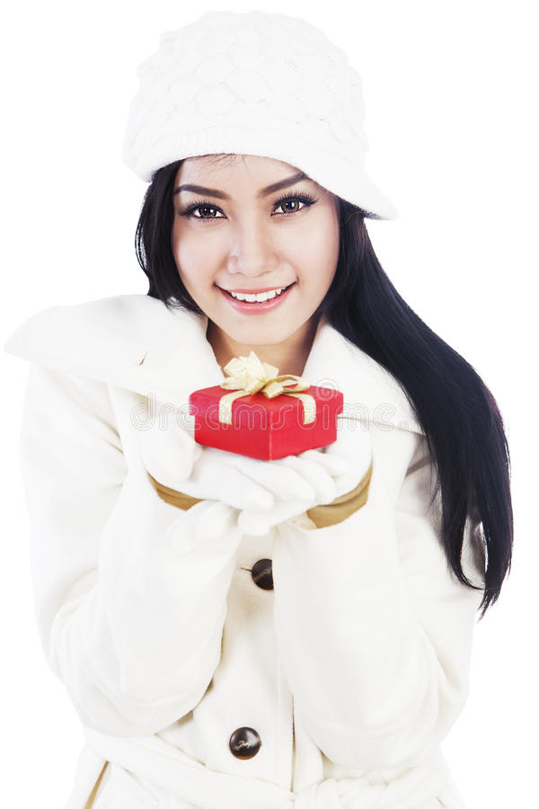 Beautiful Woman Giving A Christmas Gift 1 Royalty Free Stock Photo