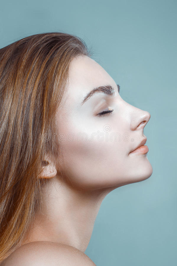 Beautiful Woman Glamour Clean Skin Face Portrait Profile royalty free stock photography