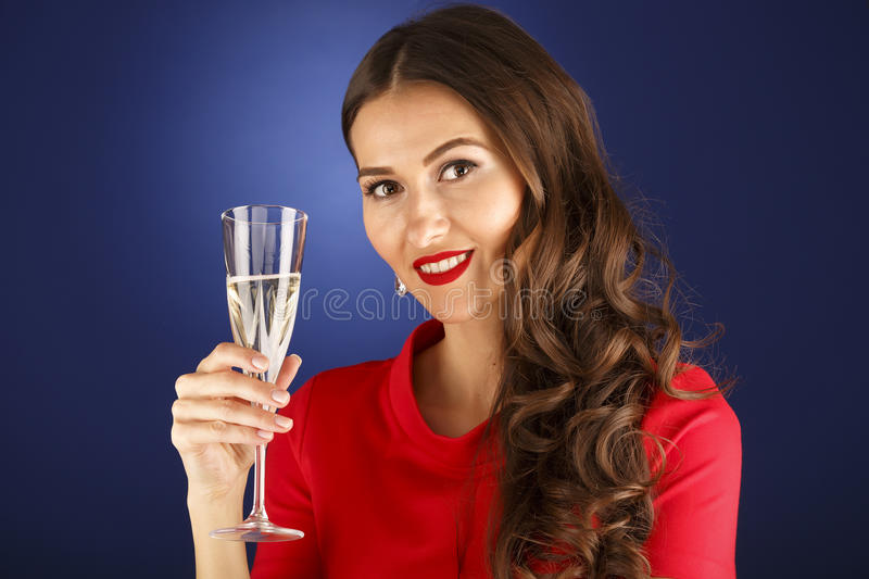Beautiful woman with glass of champagne. Celebrate concept stock images