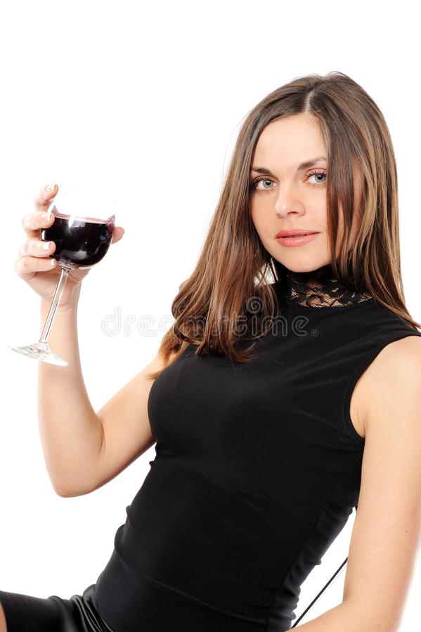 Download Beautiful Woman With Glass Red Wine Stock Image - Image: 13520341