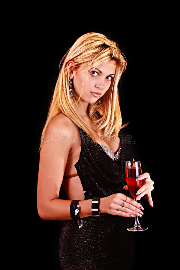 Download Beautiful Woman With A Glass Of Red Wine On Black Stock Photo - Image of looking, portrait: 12671764