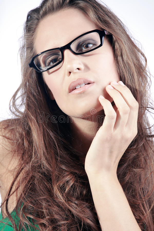 Beautiful woman and glasses stock photography