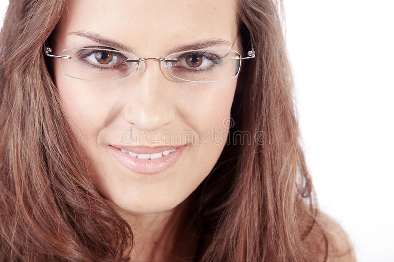 Beautiful woman and glasses royalty free stock image