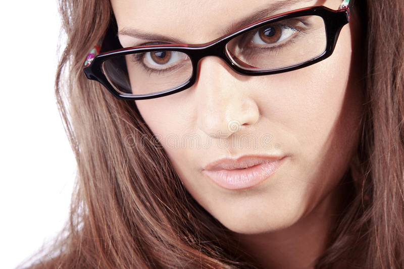 Beautiful woman and glasses royalty free stock photos