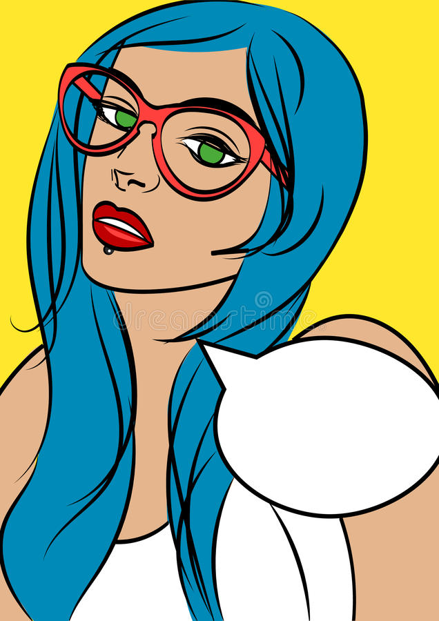 Beautiful woman in glasses in pop art comic style. Isolated eps 10. Beautiful woman in glasses in pop art comic style. Isolated eps 10 royalty free illustration