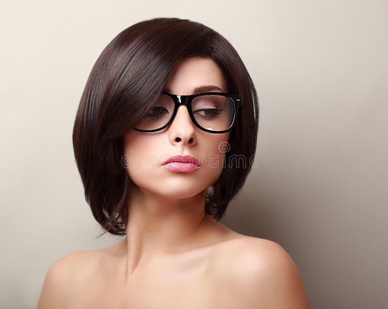 Beautiful Woman In Glasses. Short Black Hair Stock Photo
