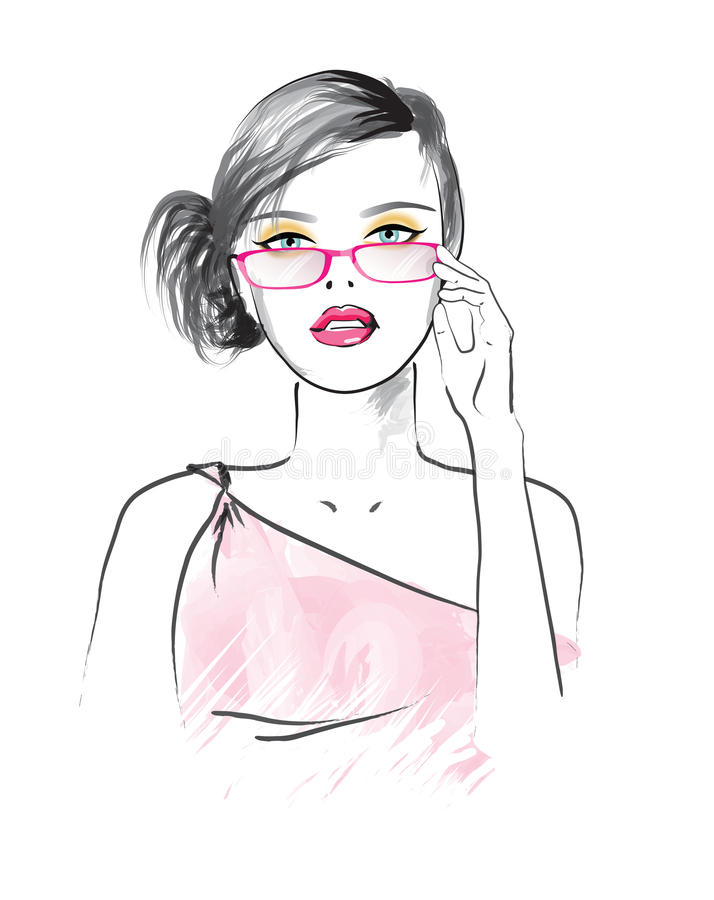 Beautiful woman in the glasses royalty free illustration