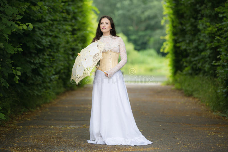 Beautiful woman in gothic dress royalty free stock photo