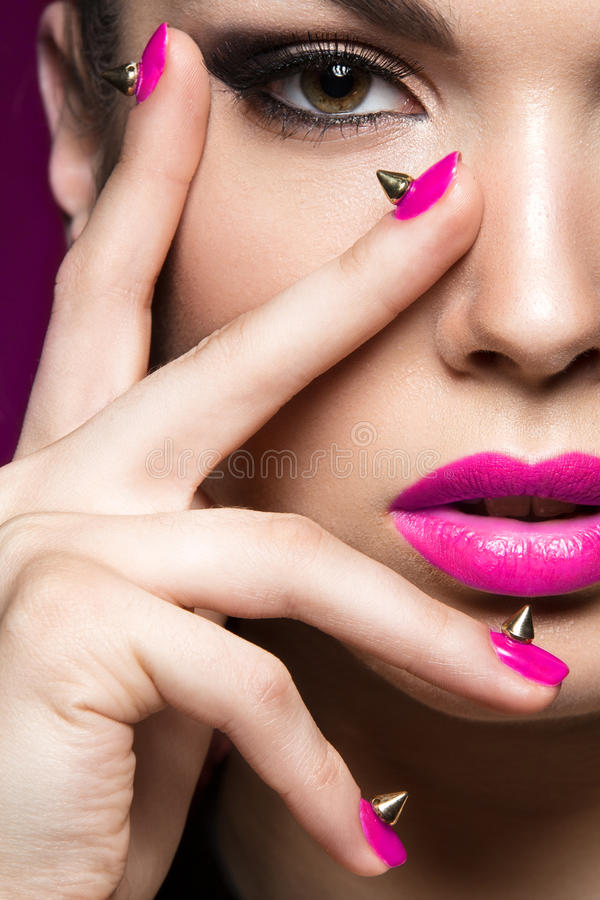 Download Beautiful Woman In Gothic Style Evening Makeup And Red Nails Wi Stock Photo