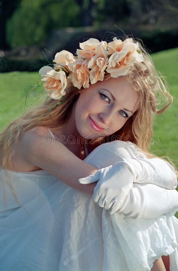 Beautiful Woman On Grass Stock Photography
