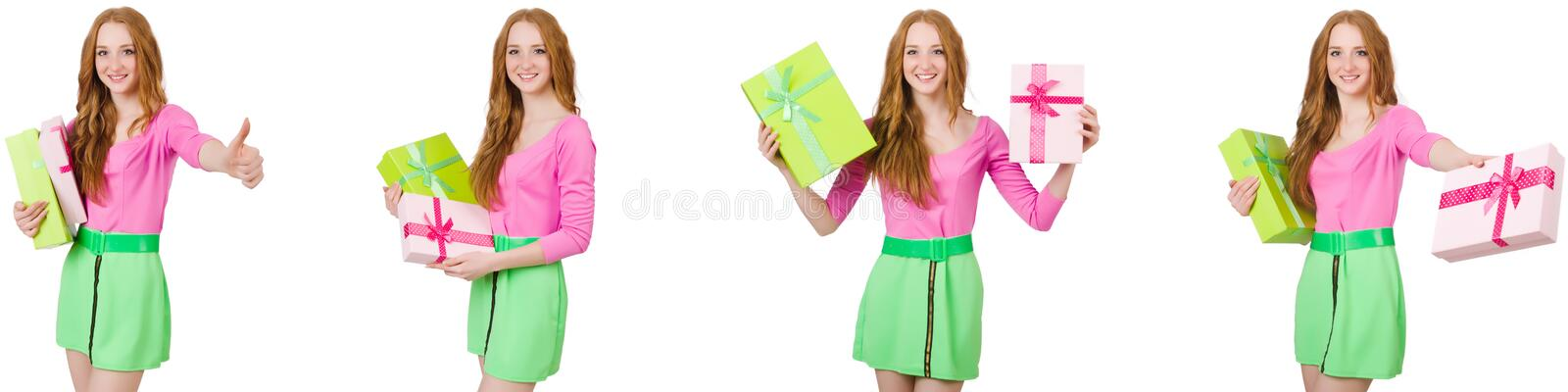 The beautiful woman in green skirt with giftbox. Beautiful woman in green skirt with giftbox royalty free stock image