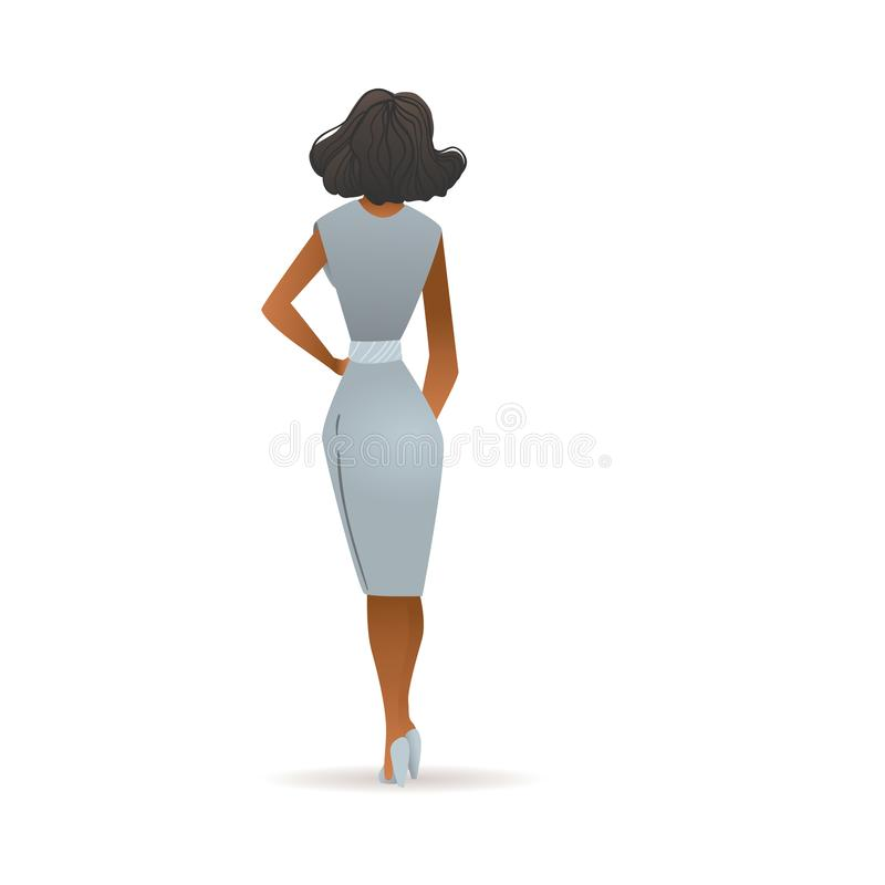 Beautiful woman in grey dress seen from back view - cartoon girl with dark skin royalty free illustration