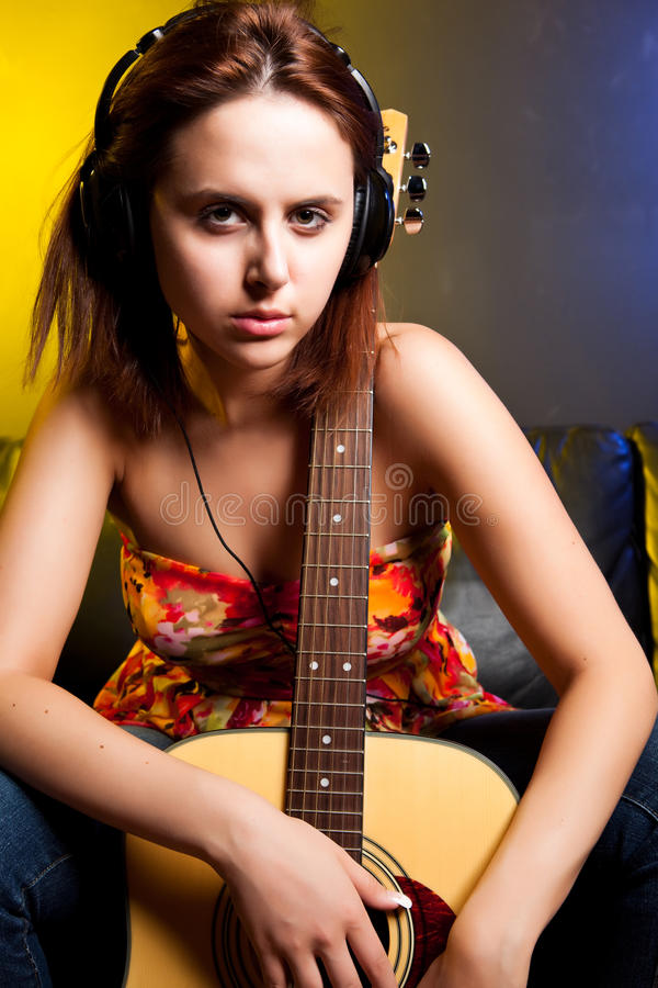 Download Beautiful Woman With Guitar Stock Image - Image: 10718581