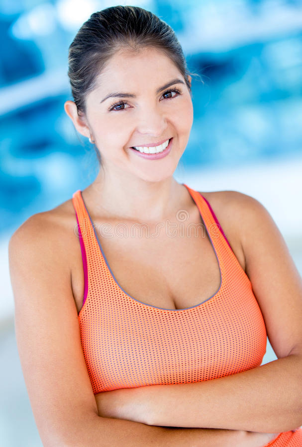 Download Beautiful woman at the gym stock photo. Image of smile - 27682210