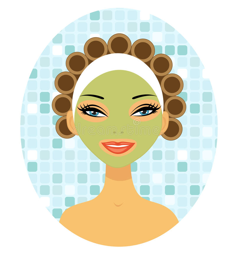 A beautiful woman with hair curlers royalty free illustration