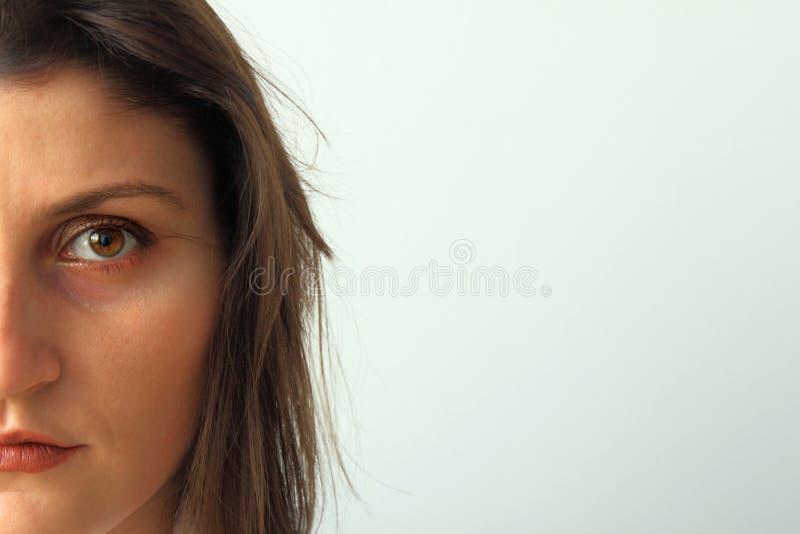 Beautiful woman half face closeup. stock photography