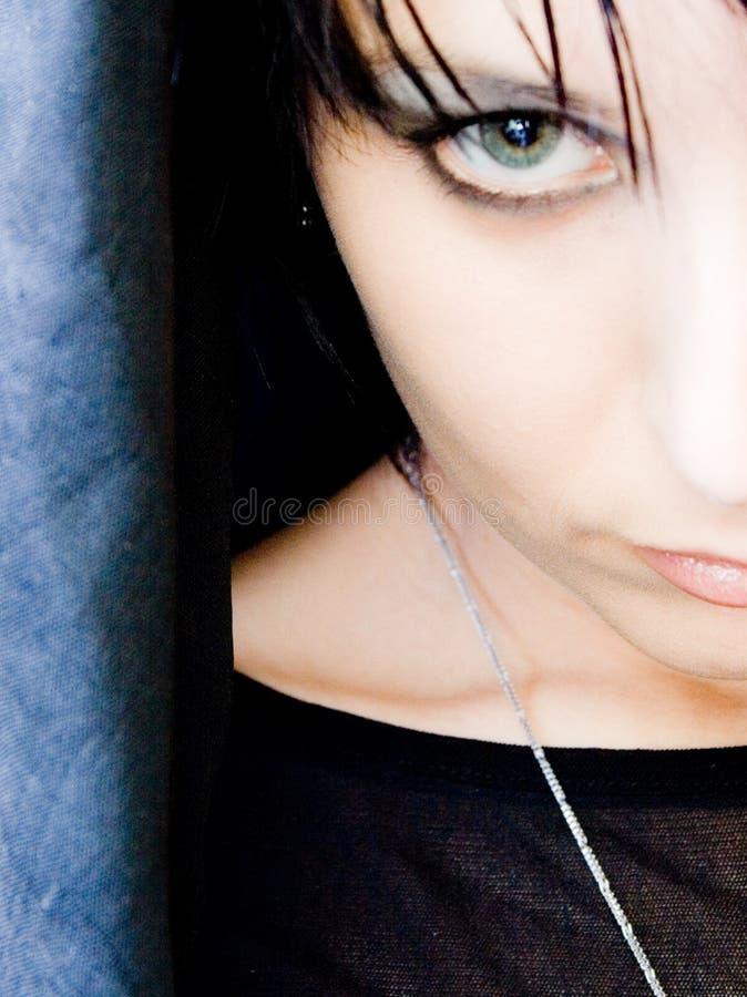 Beautiful Woman Half Face Closeup royalty free stock photos