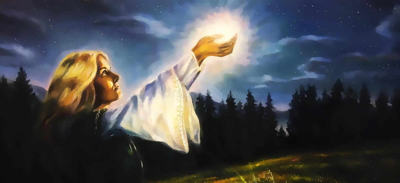 Beautiful woman with hands holding light in nocturnal landscape, computer graphic from painting. stock photos