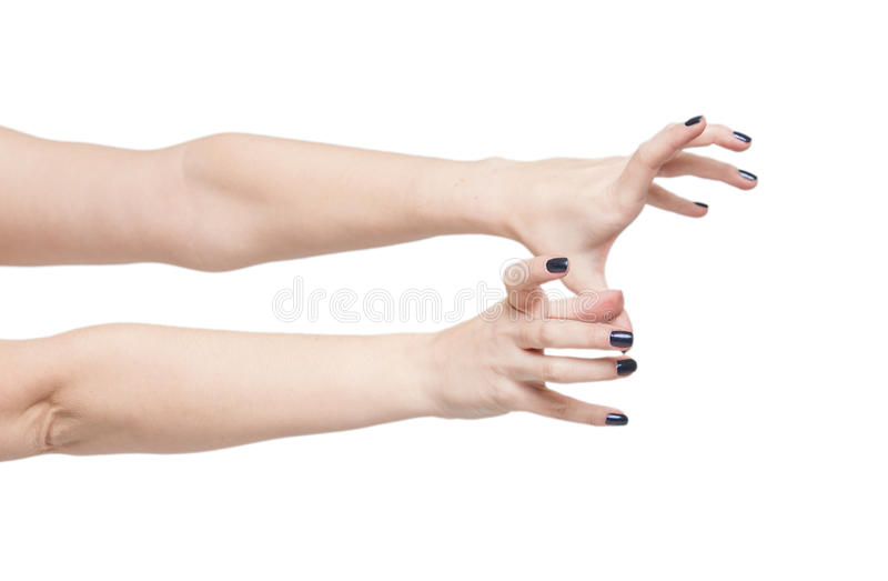 Beautiful woman hands reach out isolated. On white background stock photo