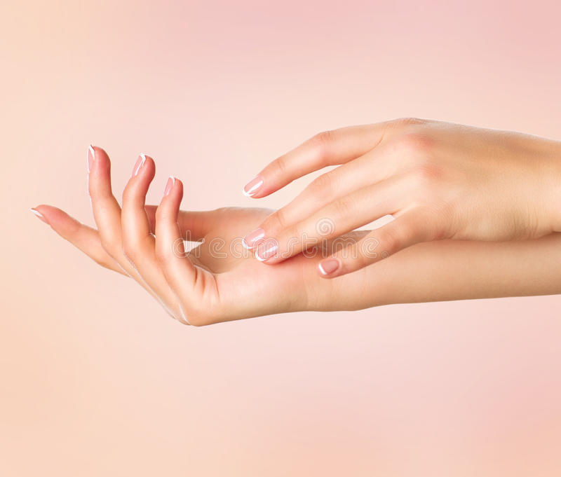 Beautiful woman hands. Spa and manicure concept royalty free stock photos