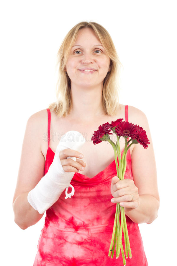 Beautiful woman happy that her finger gets alright