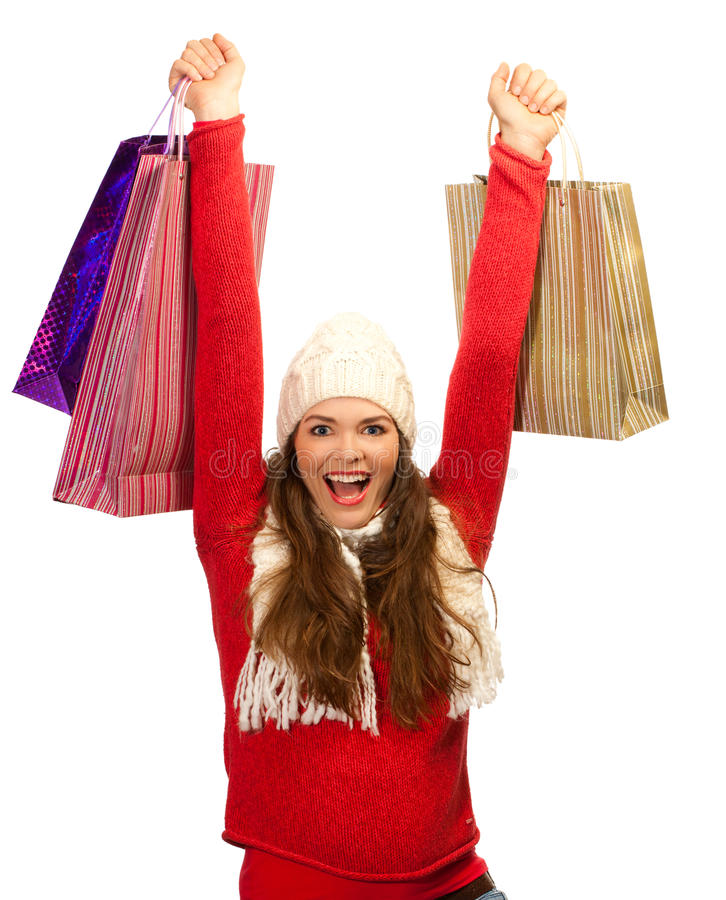 Beautiful woman happy to finish christmas shopping stock photo