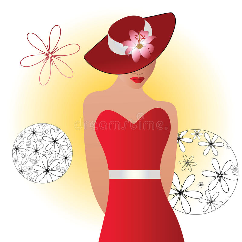 Beautiful woman in hat royalty free illustration
